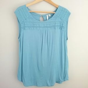 Lauren Conrad Blue Crochet Detail Keyhole Top